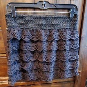 Jolt Skirts - Black Crochet Mini Skirt